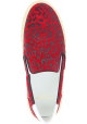Saint Laurent Women's leopard print laceless slip-on shoes in red leather