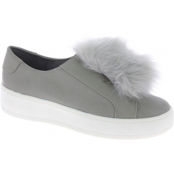 Steve Madden Women's platform laceless sneakers in gray faux leather with fur