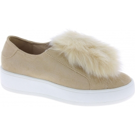 Steve Madden Women's platform laceless sneakers beige suede leather and fur