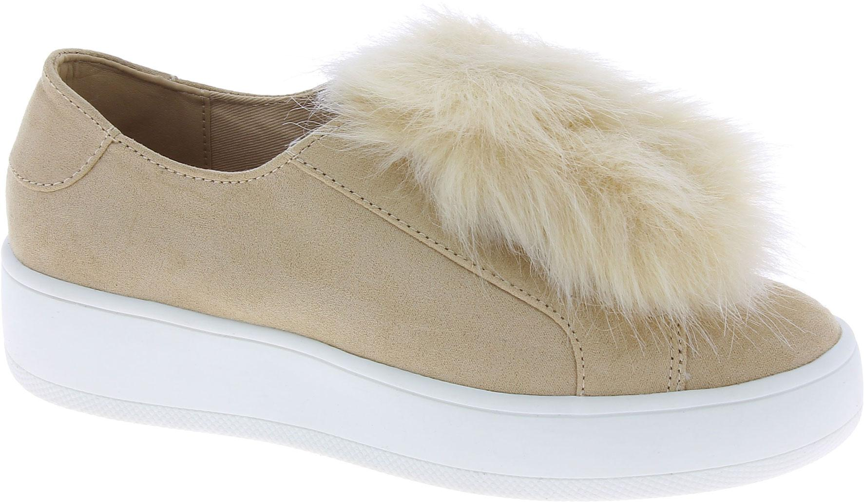 e45f6153285 Steve Madden Women's platform laceless sneakers beige suede leather ...