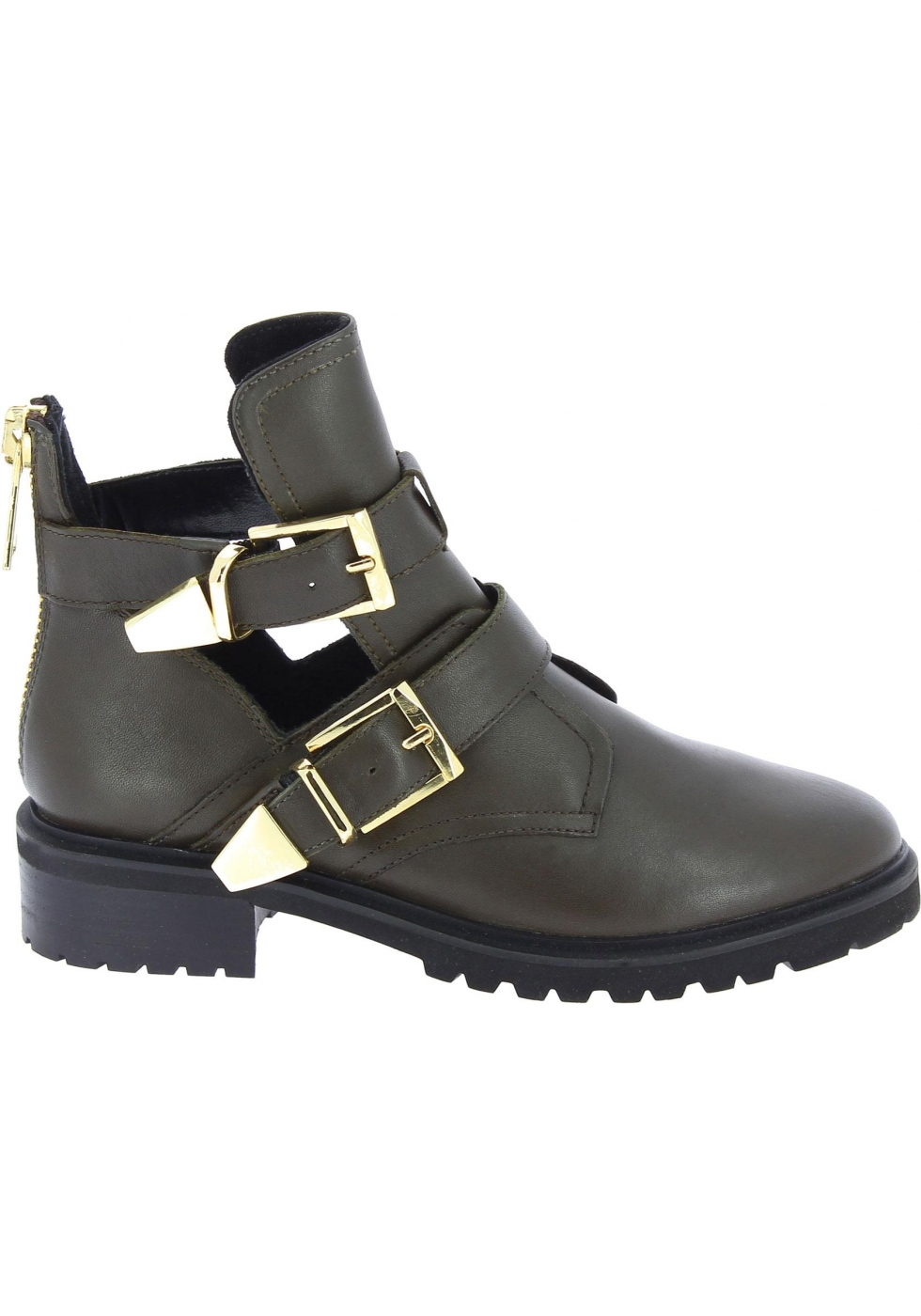991425f277a Steve Madden Women's ankle boots with buckles and zip in dark brown ...