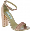 Steve Madden Women's ankle strap block high heels sandals in pink sequins