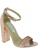 Steve Madden Women's ankle strap block high heels sandals in pink sequins