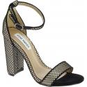Steve Madden Women's ankle strap high block heels sandals in black fabric