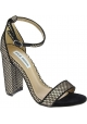 Steve Madden Women's ankle strap high block heels sandals in black fabric