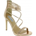 Steve Madden Women's high stiletto sandals with zip in gold faux leather