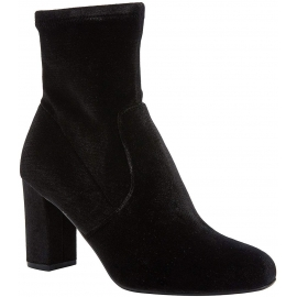 Steve Madden Women's block heels ankle boots in black velvet with side zip
