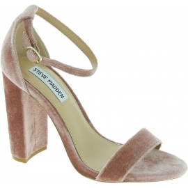 Steve Madden Women's ankle strap block heels sandals in powder pink velvet