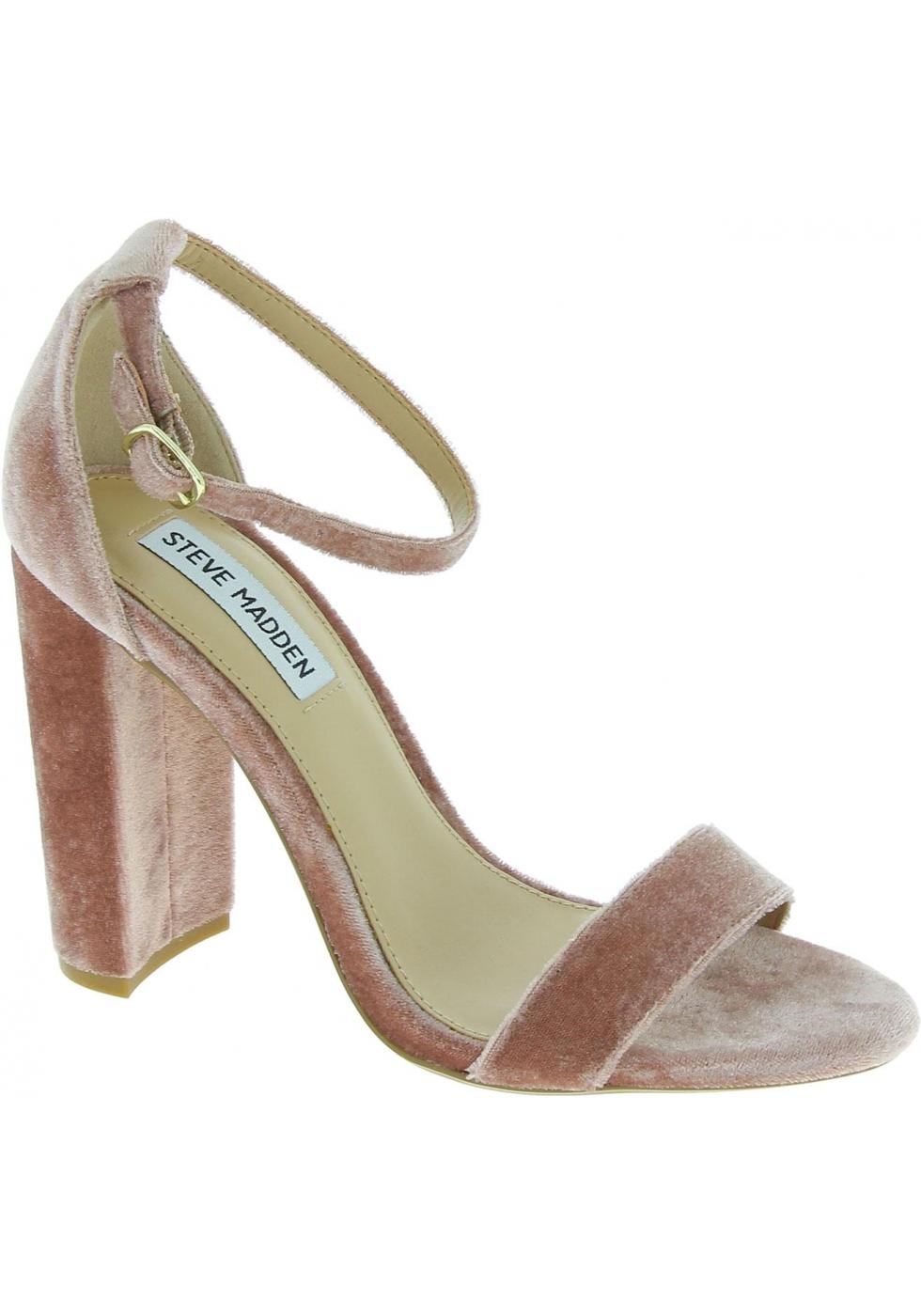 Paquete o empaquetar un acreedor Asentar  Steve Madden Women's ankle strap block heels sandals in powder pink velvet  - Italian Boutique