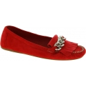 Prada Women's fashion chain fringe loafers shoes in red suede leather