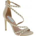 Steve Madden Women's ankle strap high heeled beads sandals in blush fabric